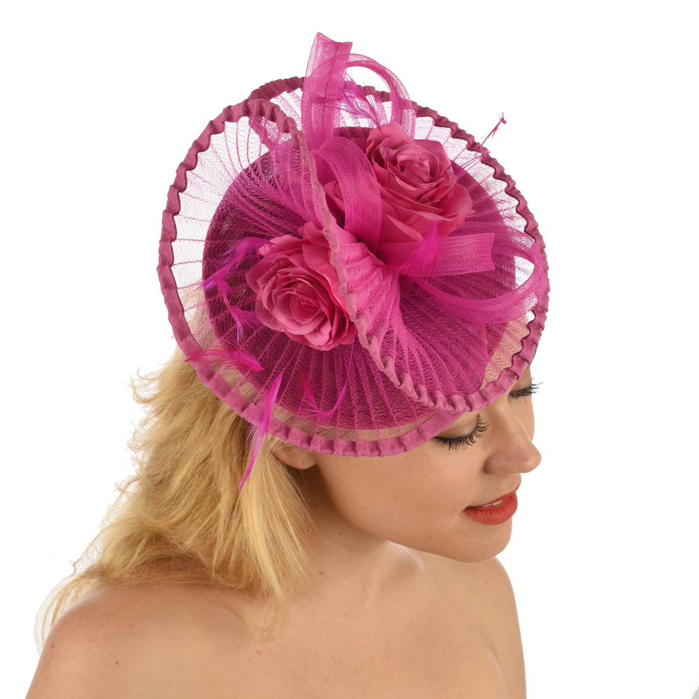 Hatinator - Brittany with Pleated Swirls and Roses