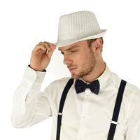 Fedora Hat Striped White | 57-58cm