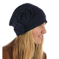 Dual Flower Pleated Cotton Beanie