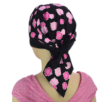 Pink Floral Girls Petite Size Durag Chemo Wrap