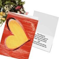Greeting Card - Hand Painted Red Love Heart Design