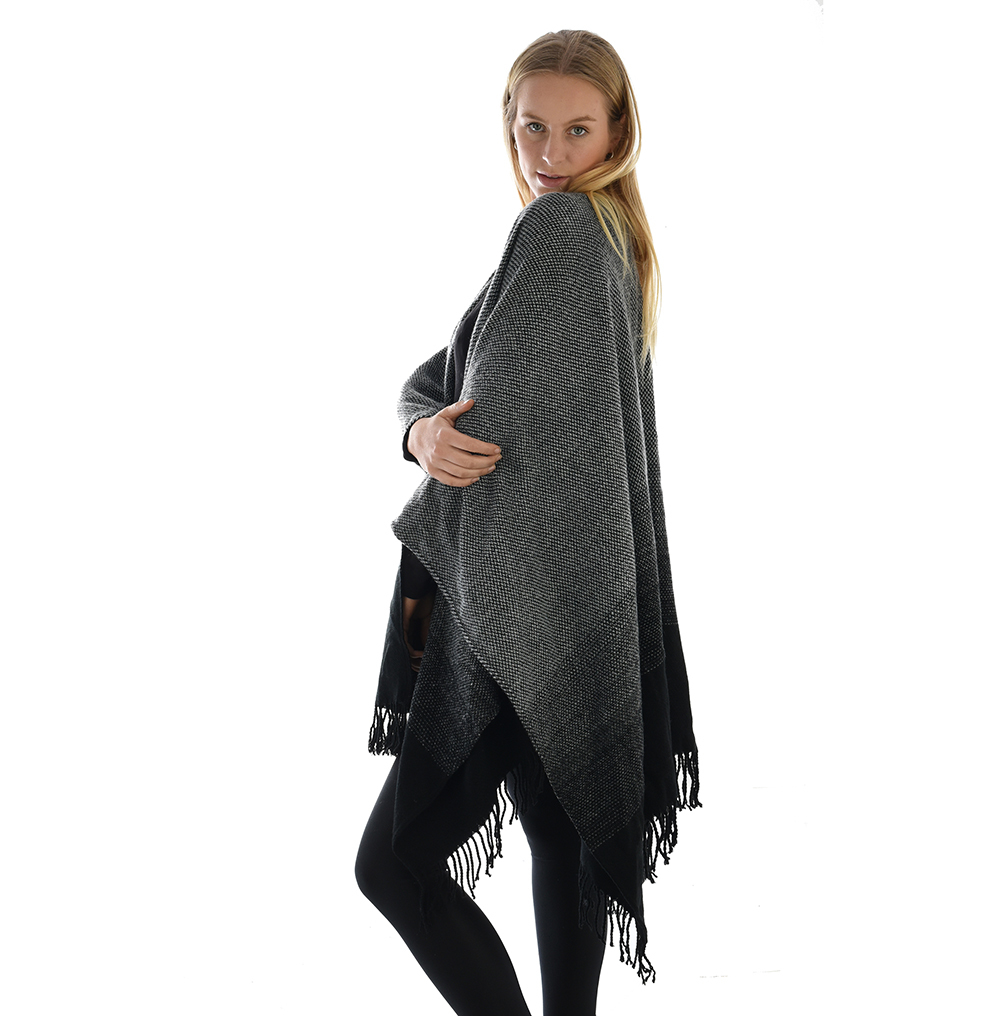 Grey and Black Cape Poncho Wrap