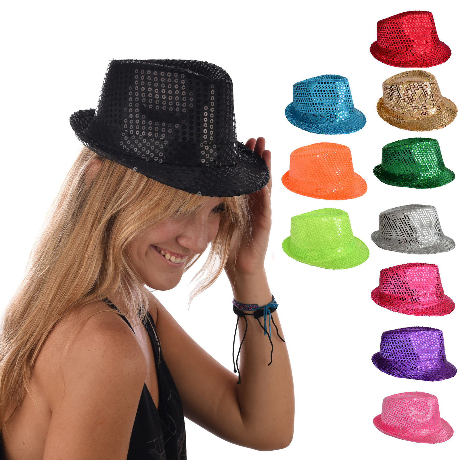 a48797ad Stage Show Costume Disco Sequin Fluro Fedora Trilby Hat