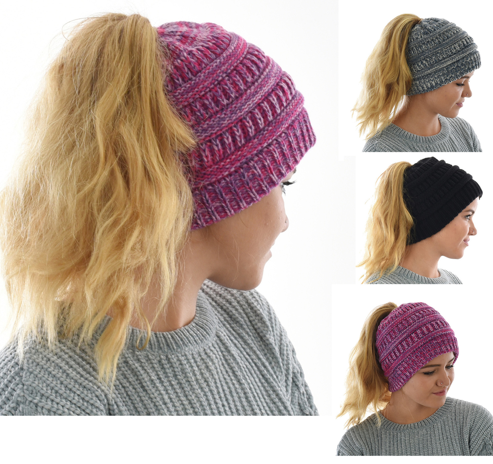 840c85dd05c1f Three-toned messy bun ponytail beanie