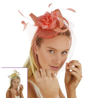 Pillbox & Flower Feather Headband Fascinator