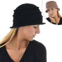 Striped Stretch Wool Cloche