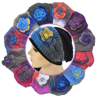 Soft Cotton Beanie with Tie Dye Flower Crochet Headband