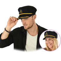 Fitted Black Marine Captain Hat