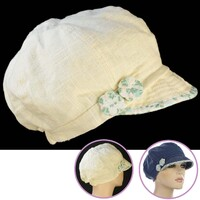 Cream Linen Cabbie Cap with Soft Visor