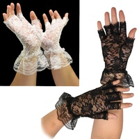 Ladies Lace Half Finger Gloves