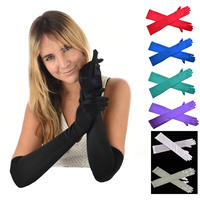 Stretch Satin Gloves Over Elbow