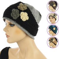 Cotton Beanie n Triple Flower Crochet Headband