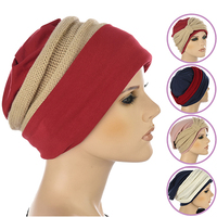 Cotton Beanie and Knit Turban Headband Set