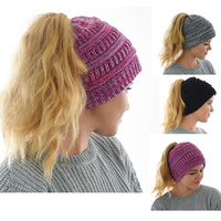Three Toned Messy Bun Beanie