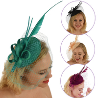 Fascinator - Amanda with Feather Quills and Netting Veil