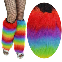 Rainbow Faux Fur Disco Legwarmers