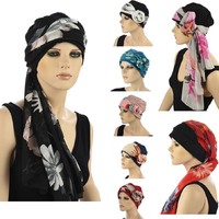 Premium Cotton Chemo Hat with Scarf Band Tie