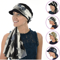 Cotton Cadet Cap with Scarf - Naomi